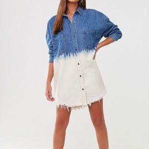 🦋🦋🦋 Oversized Dip Dye Denim Shirt Dress